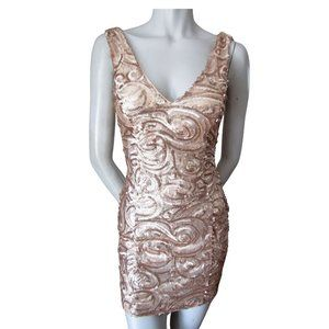 Revamped Rose Gold Sequined Backless Minidress S